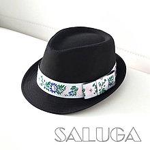 Čiapky - Folklórny klobúk - čierny - ľudový - ružová stuha - 9974000_
