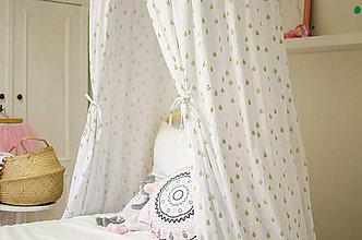 Textil - Bielo zlatý baldachýn  (kvapky) - 9974626_