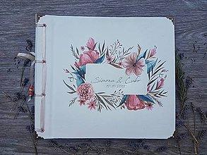 Papiernictvo - Fotoalbum klasický, papierový obal so štruktúrou plátna a ľubovoľnou potlačou (Fotoalbum klasický, papierový obal so štruktúrou plátna a  potlačou kvetinového rámčeka) - 9972022_