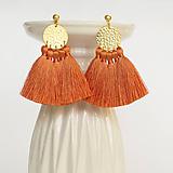 Náušnice - Zlaté náušnice so strapčekmi - oranžové, mosadz - 9972427_