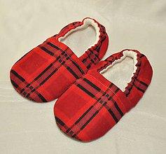 Topánočky - Capačky kárované červené 3-4 roky - 9973217_