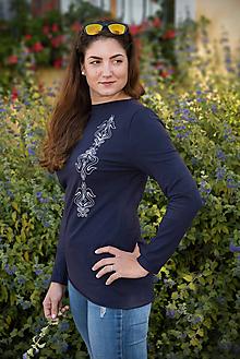 Tričká - Tričko Kate folk  - modrá - 9974100_