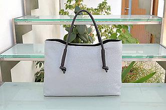 Kabelky - Kožená kabelka LUCIE šedá - 9972992_