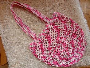Nákupné tašky - Nádherná háčkovaná sieťovka s dlhými rúčkami - 9972894_