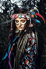 Ozdoby do vlasov - Farebná šamanská čelenka Halloween - 9972066_