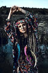 Ozdoby do vlasov - Farebná šamanská čelenka Halloween - 9972067_