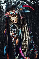 Ozdoby do vlasov - Farebná šamanská čelenka Halloween - 9972068_