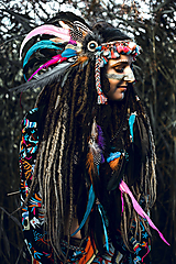 Ozdoby do vlasov - Farebná šamanská čelenka Halloween - 9972069_