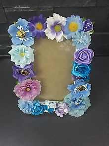 Rámiky - Modrý kvetový foto rámček - 9974783_