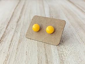 Náušnice - MINI sklenené náušničky - Slnečná žltá - 9973342_