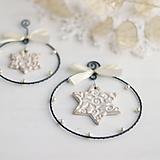 Dekorácie - vianočná dekorácia s hviezdičkou (väčší kruh 10cm) - 9975937_