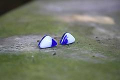 Náušnice - Puzetky Modro-biele trojuholníky - 9978249_