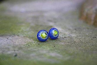 Náušnice - Puzetky Millefiori modré so žltým stredom - 9978110_