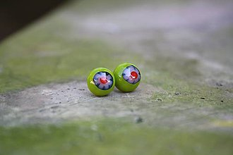 Náušnice - Puzetky Millefiori zelená s červenou - 9978119_