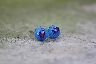 Náušnice - Puzetky Millefiori modré s modrou - 9978169_