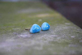 Náušnice - Puzetky Mini modré trojuholníčky - 9978312_