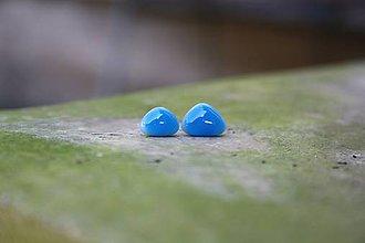 Náušnice - Puzetky Mini modré trojuholníčky rôzne - 9978316_