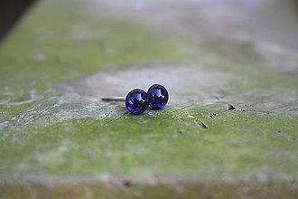 Náušnice - Puzetky Micro tmavo-fialové guľky - 9978346_