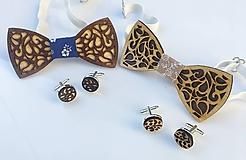 Set drevený motýlik+ manžety (Luxus)