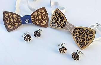 Oblečenie - Set drevený motýlik+ manžety (Luxus) - 9977638_