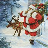 - S1304 - Servítky - Vianoce, santa claus, sob, zima, sneh - 9976546_