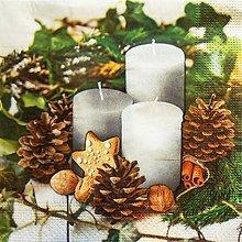 Papier - S1303 - Servítky - Vianoce, sviečky, orechy, ihličie, imelo - 9976521_