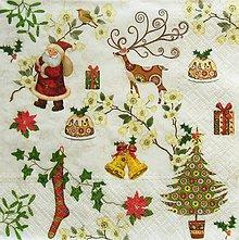 Papier - S1305 - Servítky - Vianoce, stromček, santa claus, zvonček - 9976983_