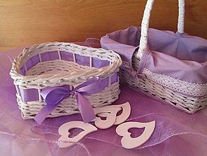 Košíky - Košíky - Svadobná súprava fialková - 9976121_
