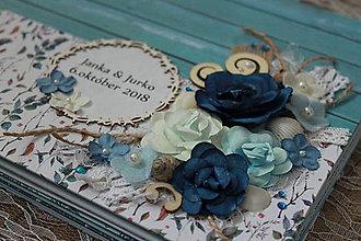 Papiernictvo - modré drevo_ svadobný album - 9975986_