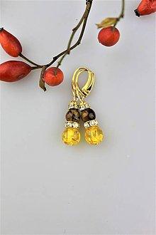 Náušnice - tigrie oko jantár dizajnový náušnice v striebre Ag925/1000 - 9977710_