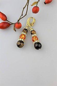 Náušnice - tigrie oko a jantár dizajnový náušnice v striebre Ag925/1000 - 9977728_