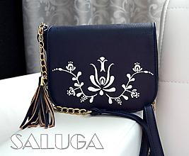 Kabelky - Ručne maľovaná folklórna kabelka - modrá - ľudová - 9976685_