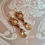 Náušnice - Ručne šité šujtášové náušnice / Soutache earrings Ida - Swarovski - 9977273_