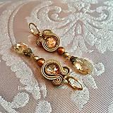 Náušnice - Ručne šité šujtášové náušnice / Soutache earrings Ida - Swarovski - 9977274_