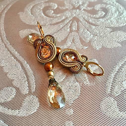 Ručne šité šujtášové náušnice / Soutache earrings Ida - Swarovski