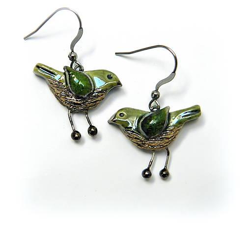keramické náušnice - vtáčiky