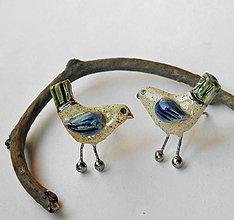 Náušnice - Keramické náušnice vtáčiky - napichovačky - 9976705_