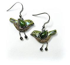 Náušnice - keramické náušnice - vtáčiky - 9976727_
