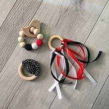 Hračky - Set hrkáliek a hryzátka (čierno-bielo-červená) - 9976081_