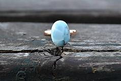 Larimar prsteň Ag 925 pozlátený
