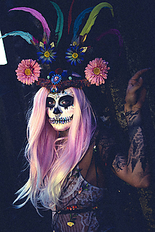 Ozdoby do vlasov - Koruna z kolekcie Santa Muerte Halloween - 9976748_