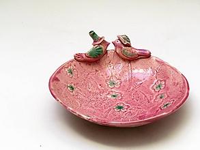 Nádoby - miska ružová vtáčiky - 9976334_