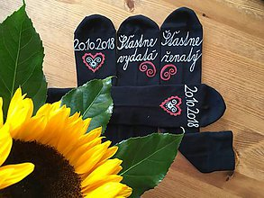 Obuv - Maľované ponožky pre novomanželov / k výročiu svadby (tmavomodré) - 9976778_
