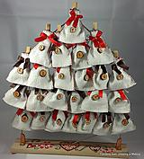 Dekorácie - adventný kalendár Červeno - hnedý z plátna - 9977994_