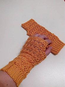 Rukavice - Horčicové háčkované rukavice - 9980401_