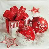 - S1306 - Servítky - Vianoce, gule, darček, mašľa, hviezda - 9978559_