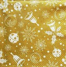 Papier - S1308 - Servítky - Vianoce, zlatá, hviezda, rolnička, imelo - 9978620_