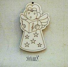 Polotovary - Výrez z preglejky - Vianoce - anjelka, 7,5 cm - 9981139_