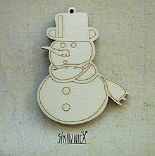Polotovary - Výrez z preglejky - Vianoce - snehuliak, 7,5 cm - 9981143_