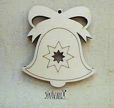 Polotovary - Výrez z preglejky - Vianoce - zvonček s hviezdičkou, 7 cm - 9981181_